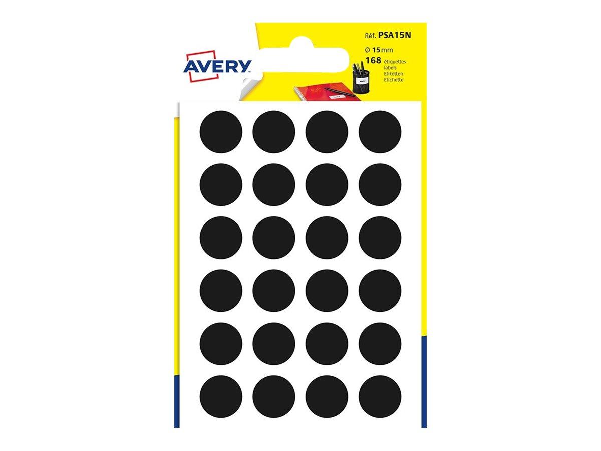Avery - 168 Pastilles adhésives - noir - diamètre 15 mm