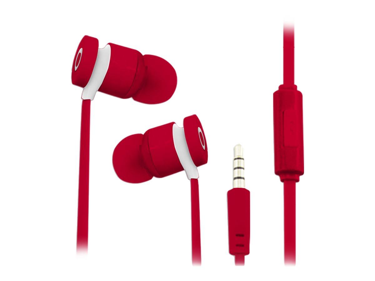 TX Kit main libre - Ecouteurs filaire avec micro - intra-auriculaire - rouge