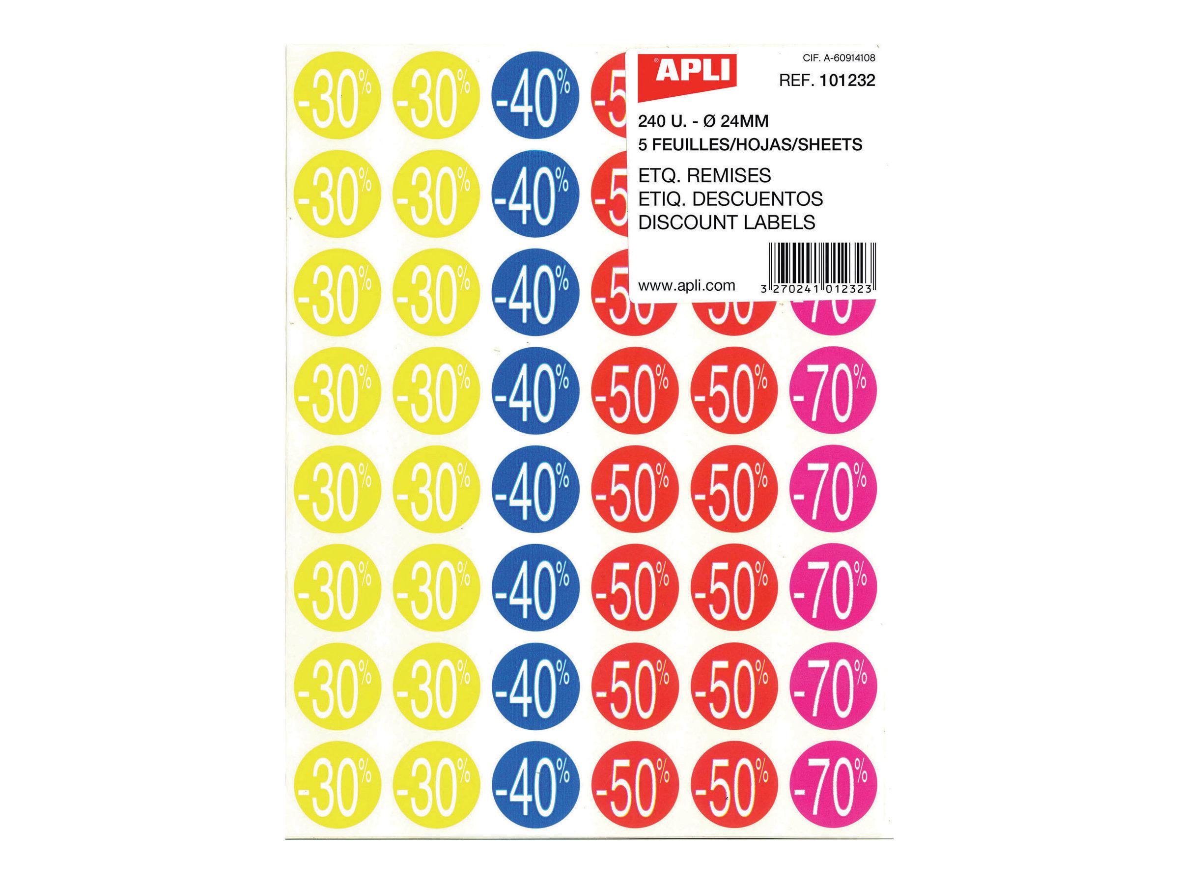 Apli Agipa - 240 Pastilles adhésives - étiquettes remise - couleurs assorties