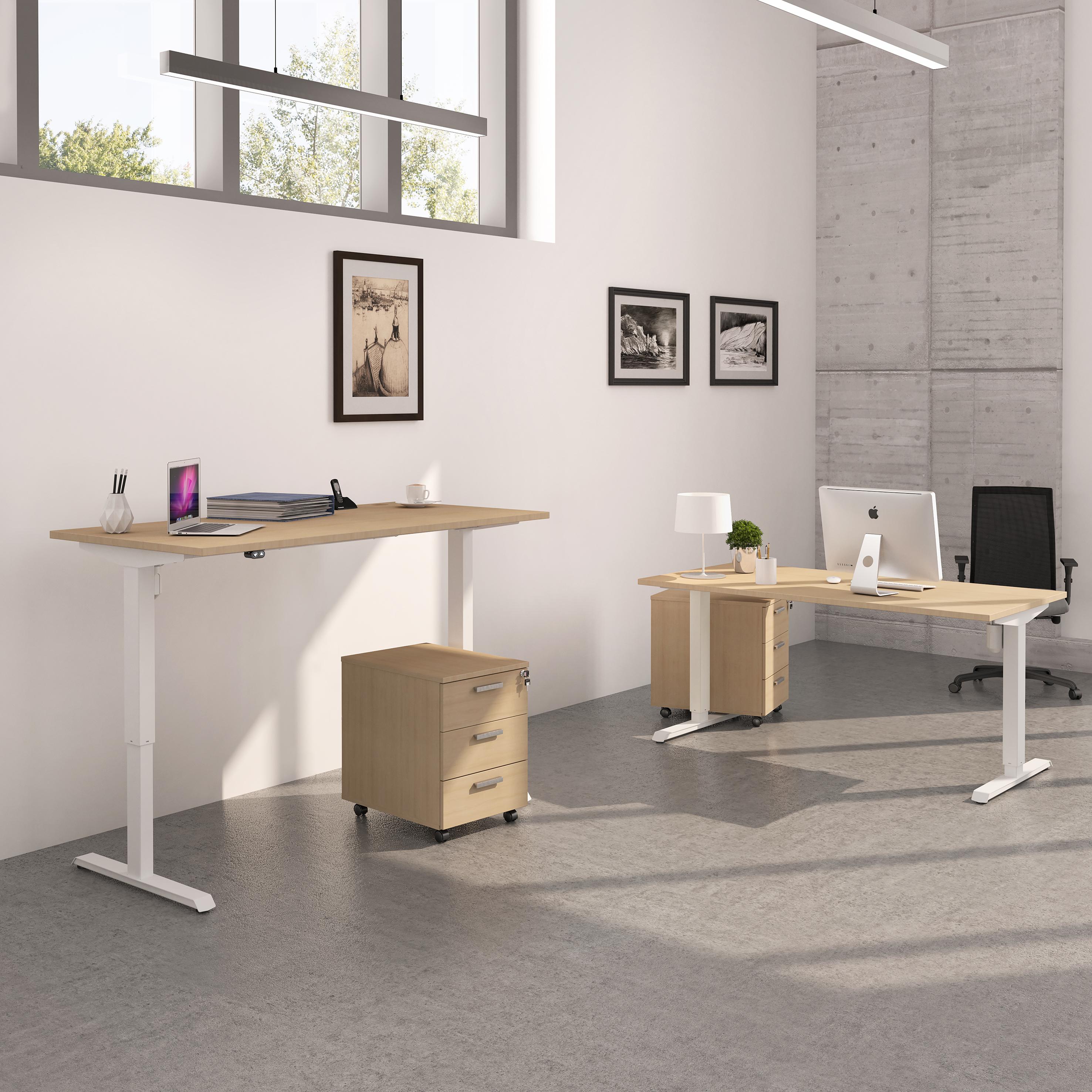Bureau LEVEL réglable en hauteur par boitier de contrôle - 160 x 80 cm - Imitation Chêne gris