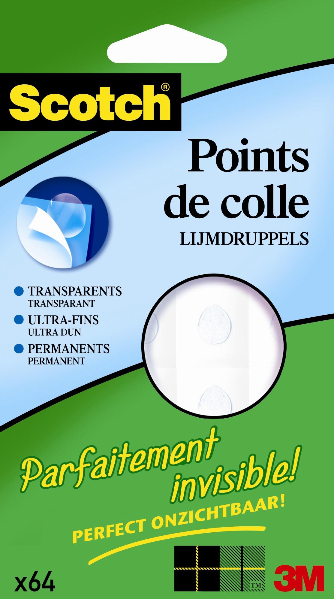 Scotch Invisible dots - Pastilles adhésives : pack de 64 pastilles