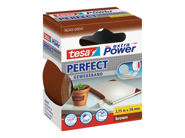 Tesa extra Power Perfect - Ruban adhésif en toile - 38 mm x 2.75 m - Havane
