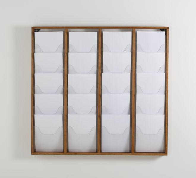 Promocome - Présentoir de journaux mural - 4 x 5 compartiments A4 - bois foncé
