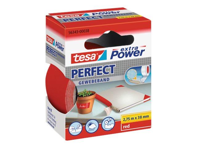 Tesa extra Power Perfect - Ruban adhésif en toile - 38 mm x 2.75 m - rouge