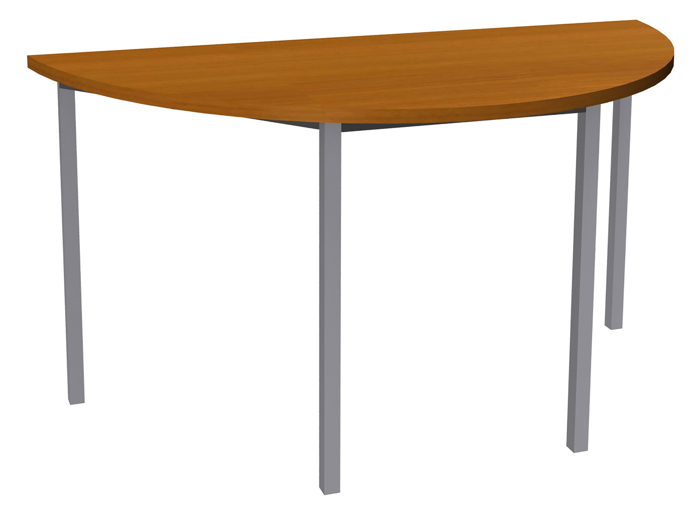 Table de réunion Demi-lune - 120 x 60 cm - Pieds aluminium - imitation merisier