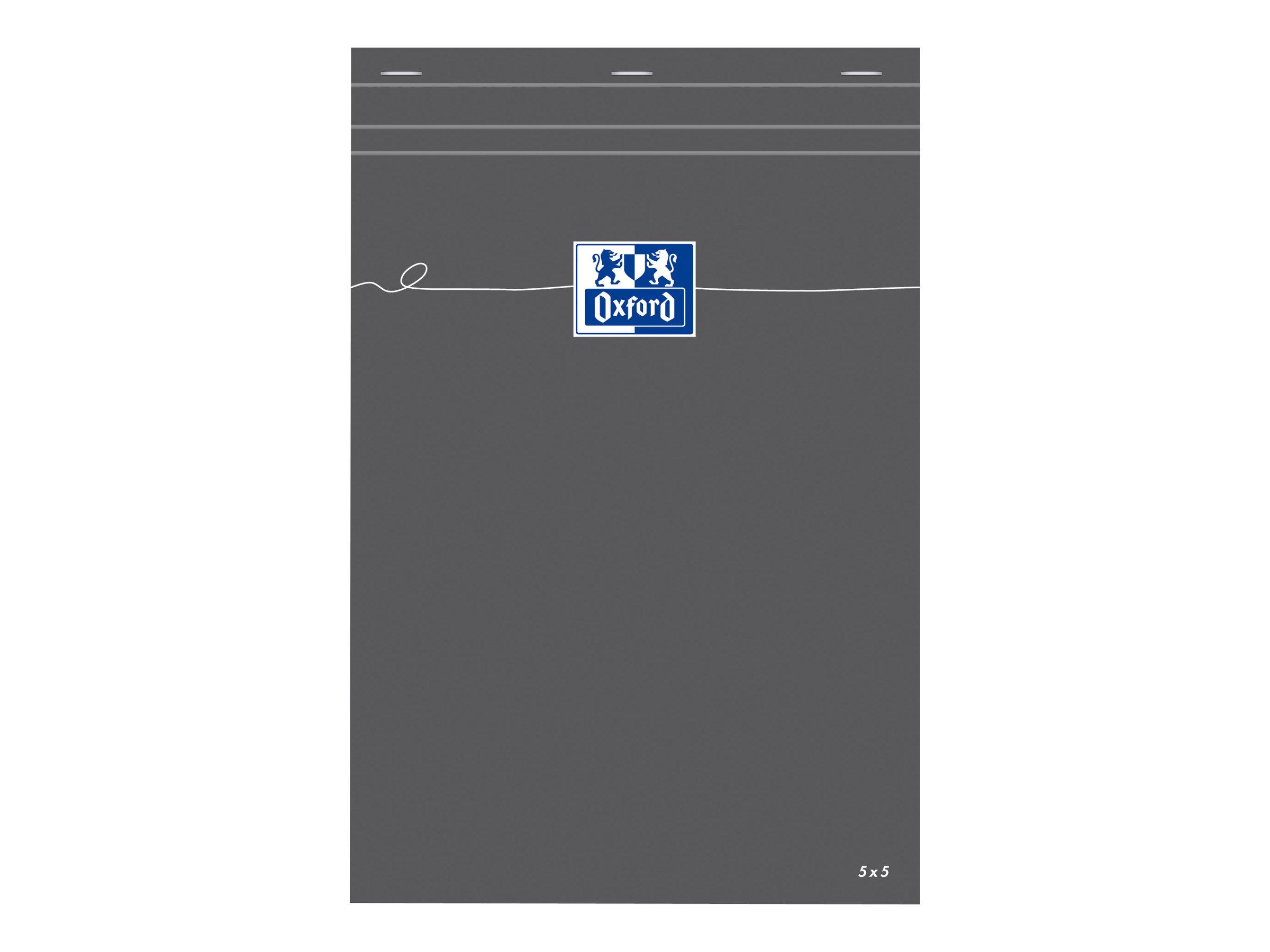 Oxford - Bloc notes - A4 - 160 pages - petits carreaux - 80G - gris
