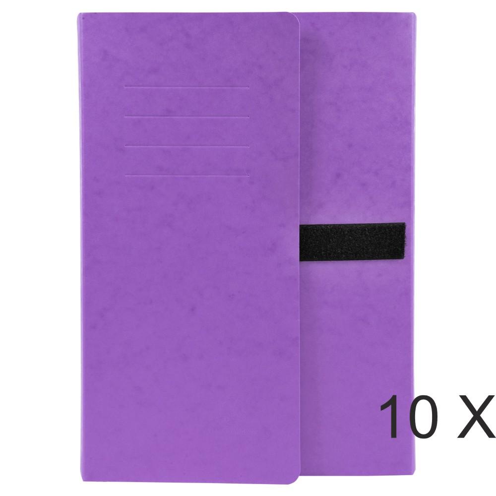 Exacompta - 10 Chemises extensibles 3 rabats à sangle - violet