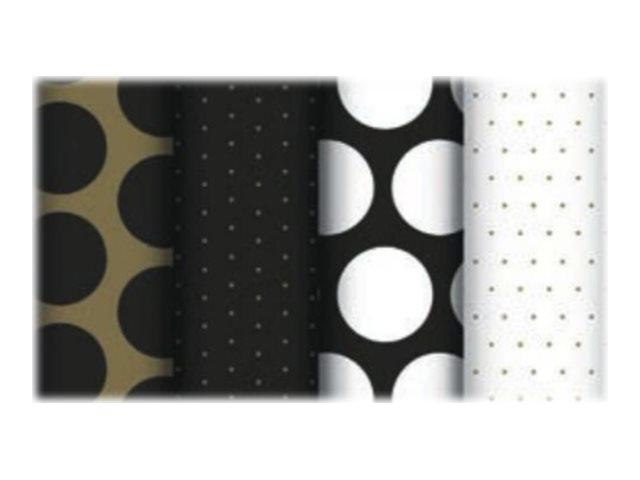 Clairefontaine Excellia - Papier cadeau - 70 cm x 2 m - 80 g/m² - pois or et noir