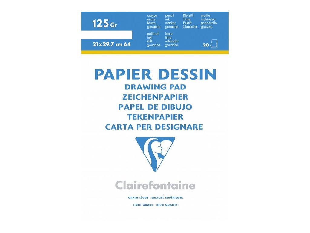 Clairefontaine Dessin à Grain - Bloc dessin - 20 feuilles - 24 x 32 cm - 125 gr - blanc