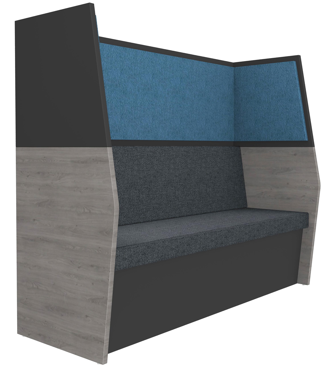 Banquette acoustique IN'TEAM - L170 x H 150 x P170 cm - 3 places - structure chêne gris et carbone - panneaux bleu chiné