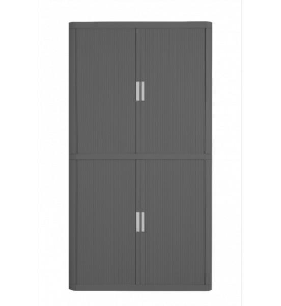 Armoire haute à rideaux EASY OFFICE - 110 x 204 x 41,5 cm - Corps et rideaux anthracite - Poignée grise