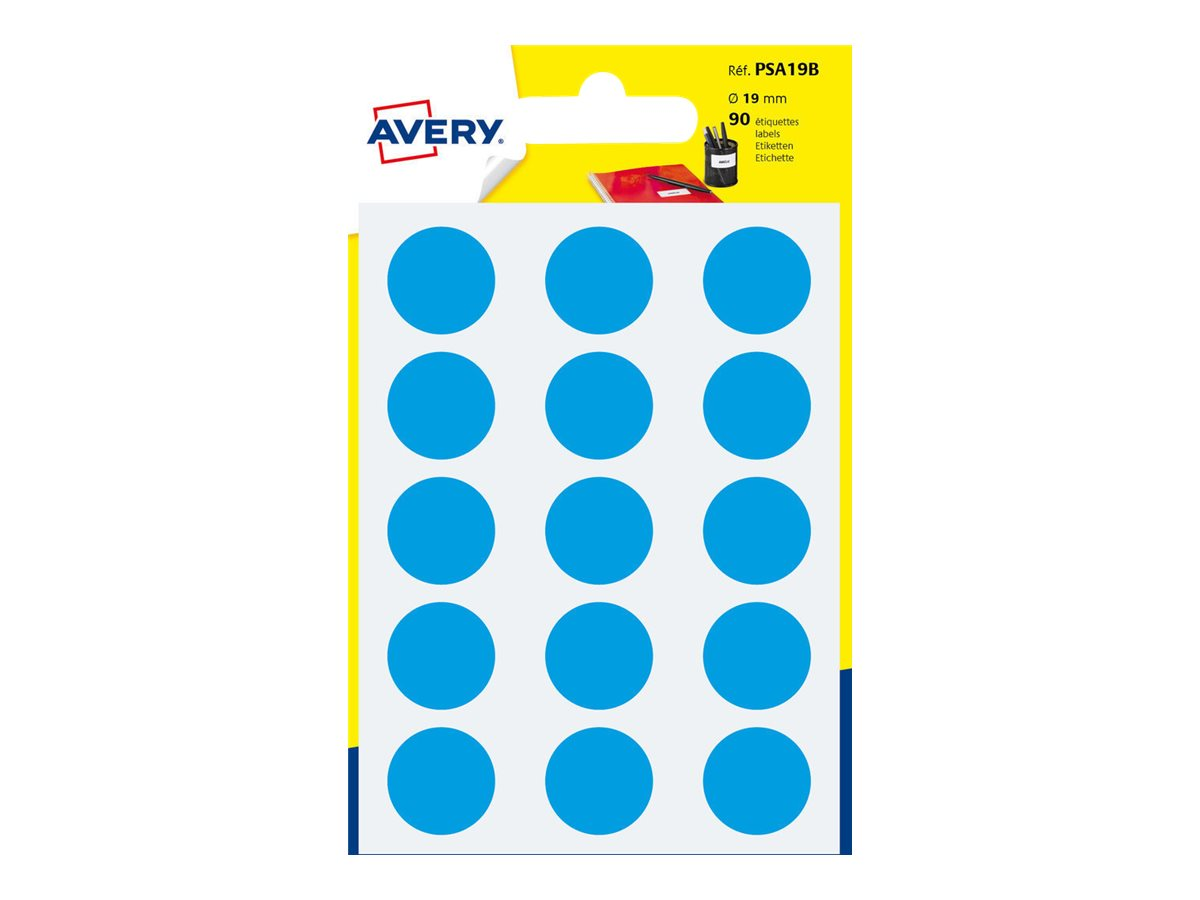Avery - 90 Pastilles adhésives - bleu - diamètre 19 mm