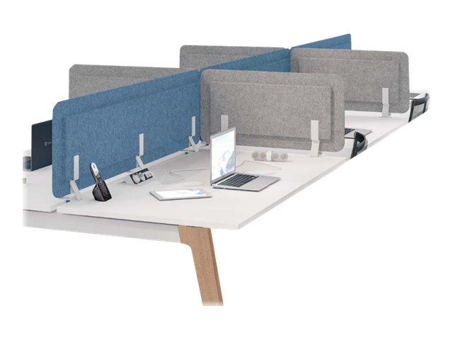 Écran de séparation acoustique pour bureau - L180 x H43 cm - bleu chiné