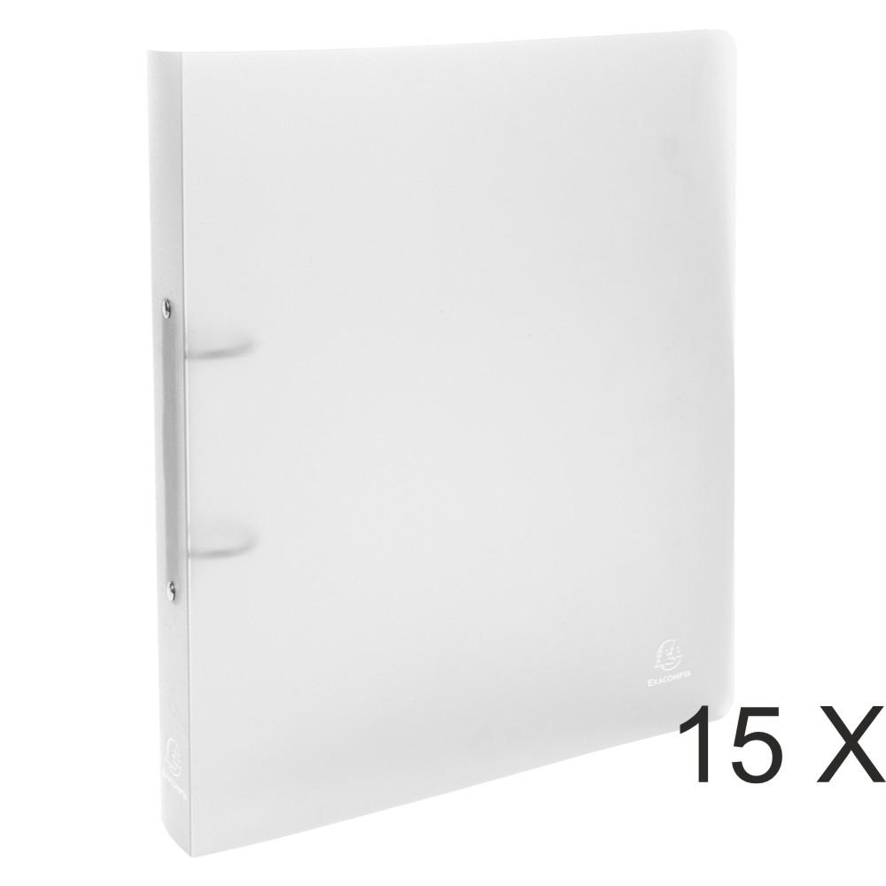 Exacompta Chromaline - 15 Classeurs 2 anneaux - Dos 40 mm - A4 Maxi - incolore