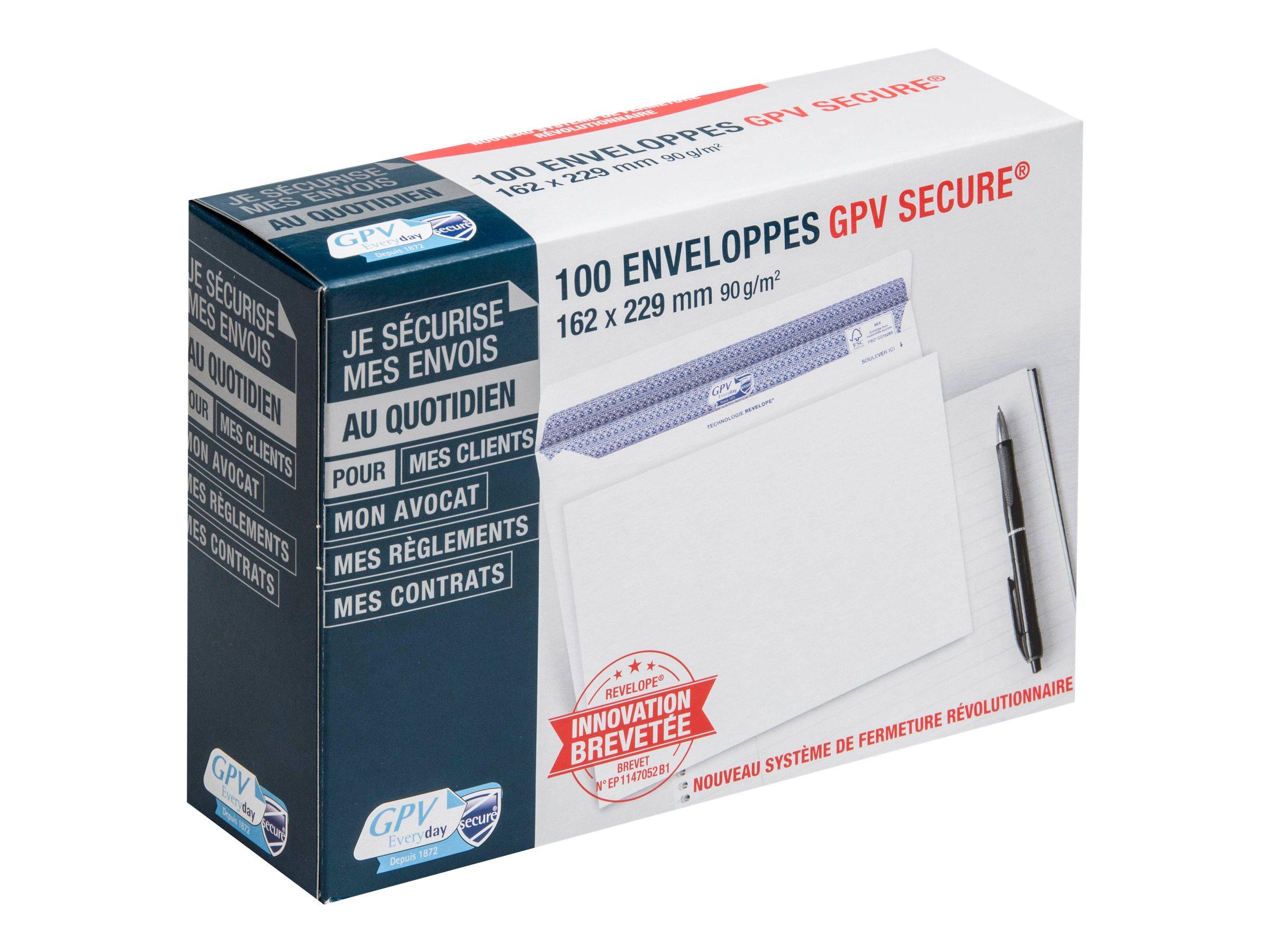 GPV Secure - 100 Enveloppes C5 162 x 229 mm - 90 gr - sans fenêtre - blanc - autocollante