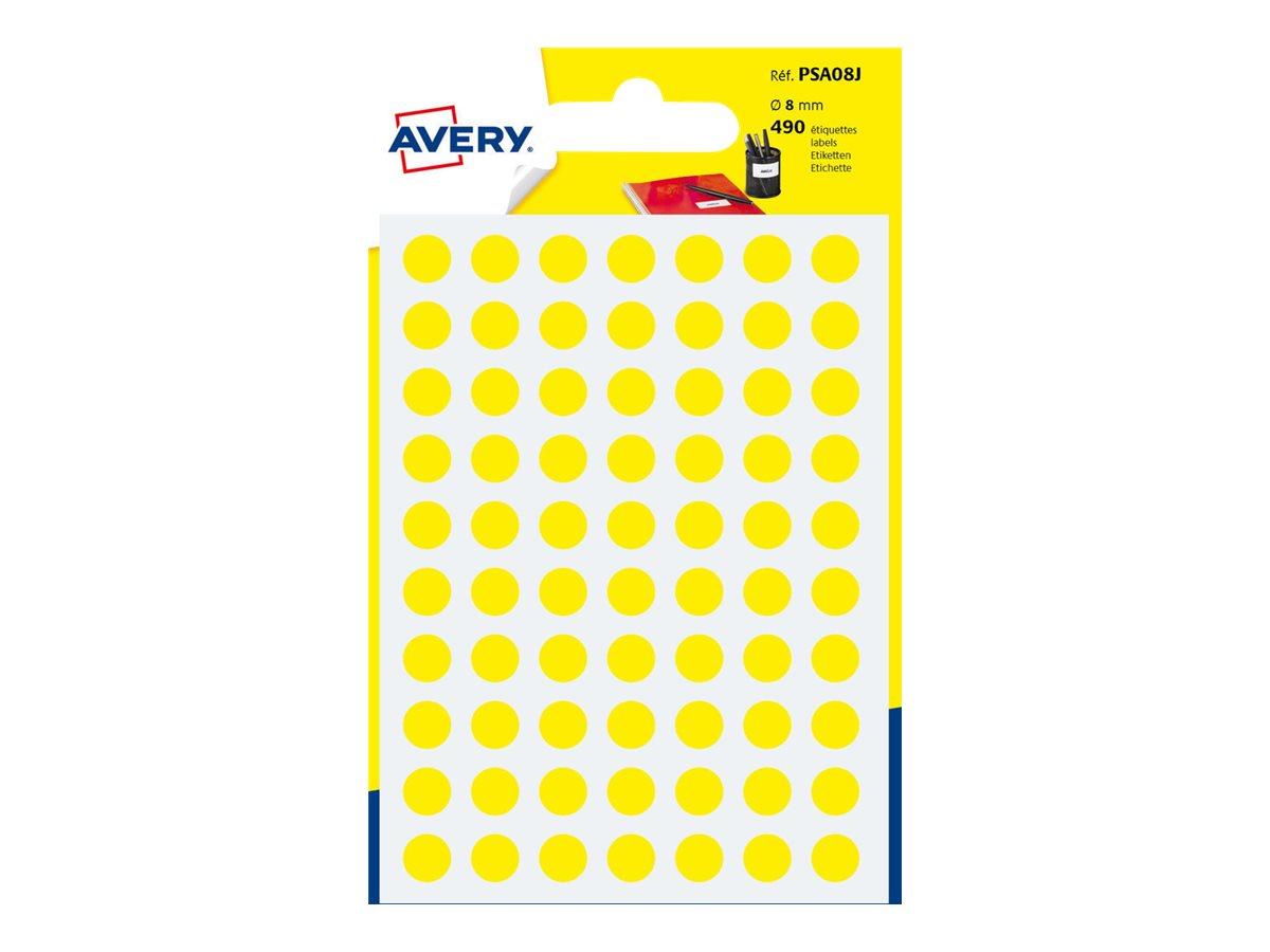Avery - 490 Pastilles adhésives - jaune - diamètre 8 mm