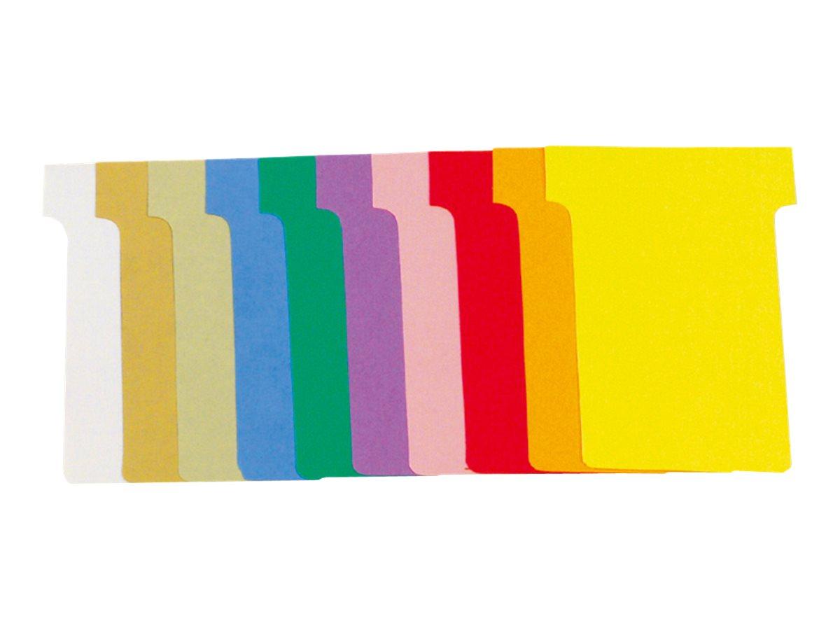 Exacompta - 100 Fiches en T - Taille 1,5 - coloris assortis - carton de 10 étuis