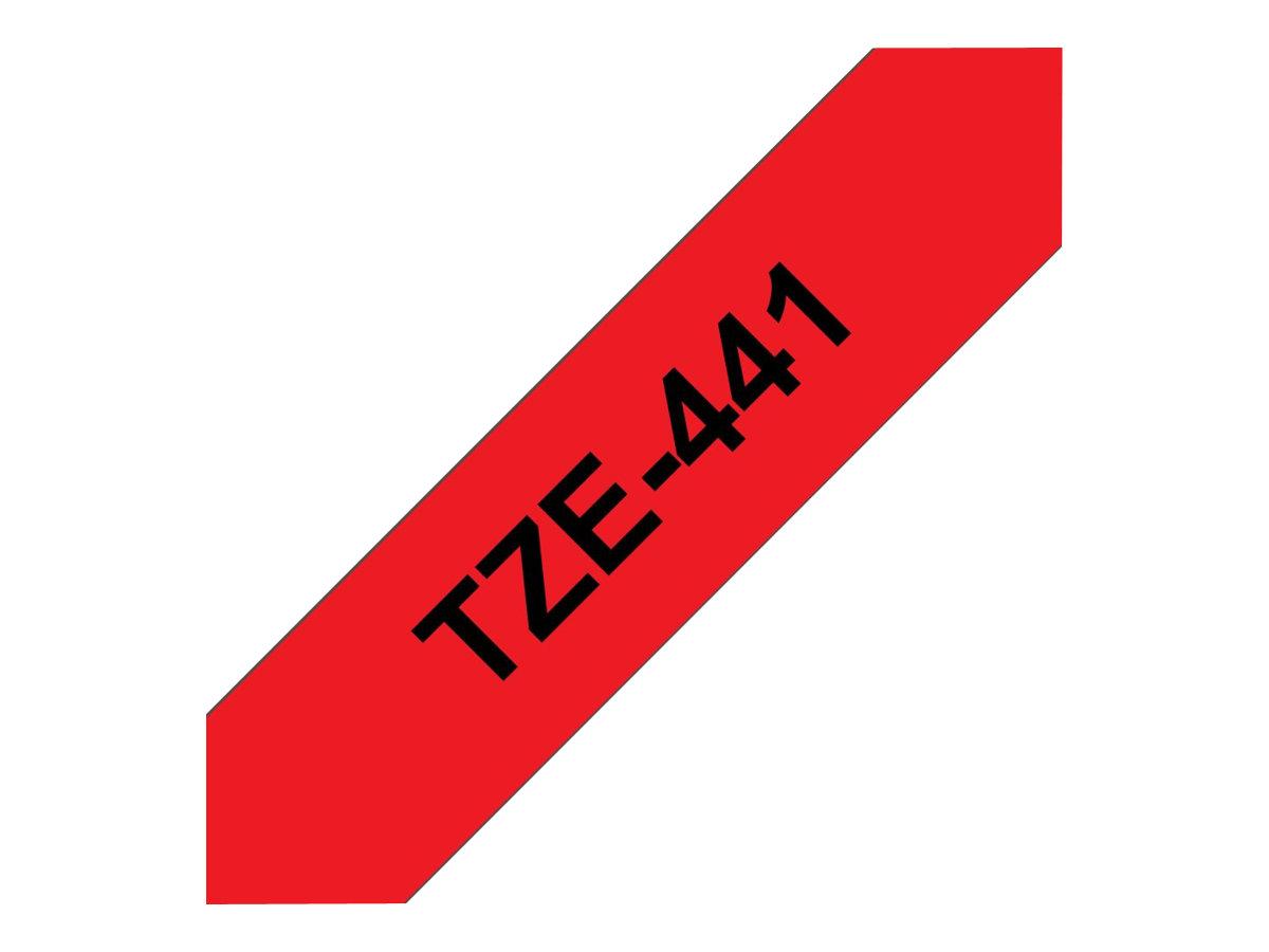 Brother TZe441 - Ruban d'étiquettes auto-adhésives - 1 rouleau (18 mm x 8 m) - fond rouge écriture noire