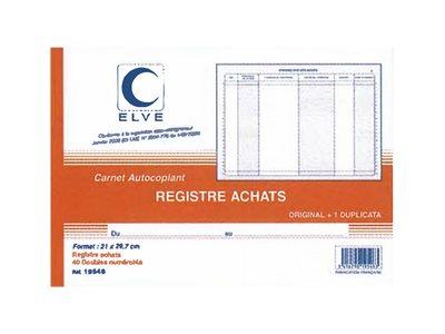 ELVE - Registre d'achats des auto-entrepreneurs (sans TVA) - 40 dupli - A4