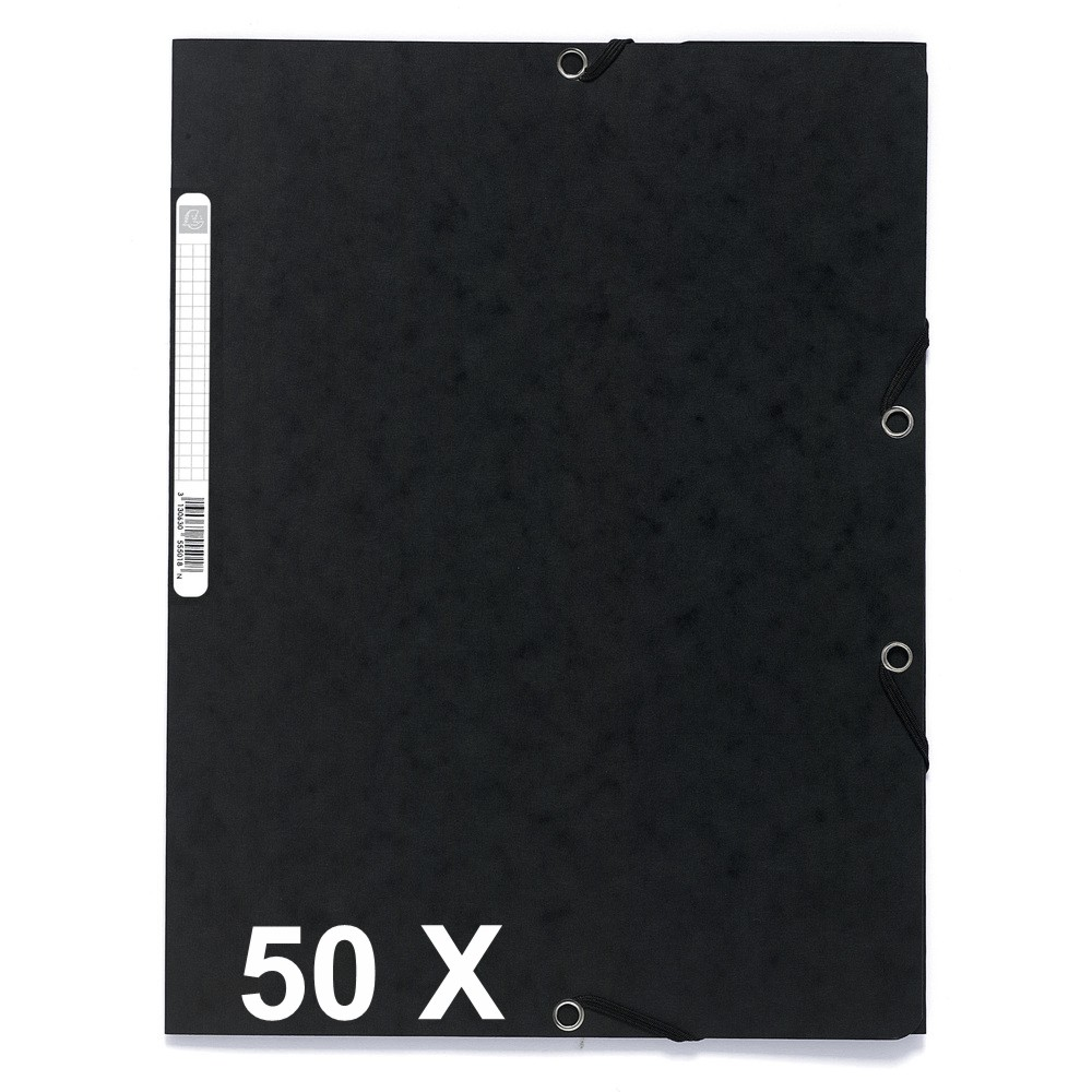 Exacompta - 50 Chemises à 3 rabats - A4 - noir