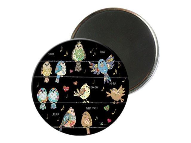 Kiub Bug Art - Magnet rond en verre - Oiseaux sur fil