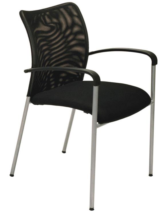 Chaise JULIA - avec accoudoirs - assise noire et dossier orange