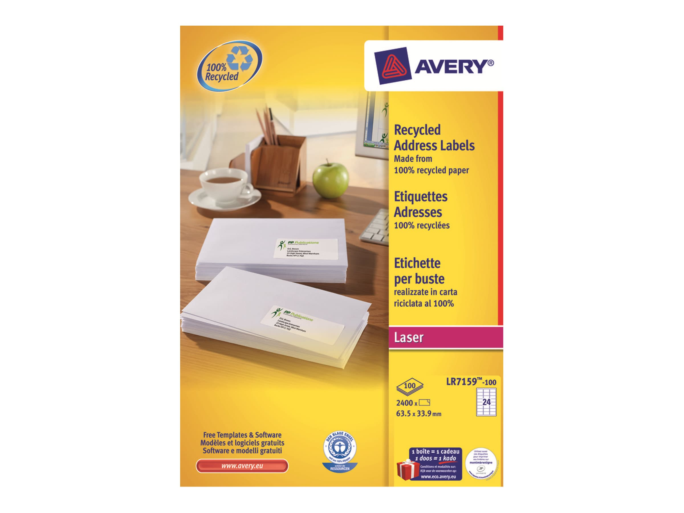 Avery - 2400 Étiquettes adresse recyclées blanches - 63,5 x 33,9 mm - Impression laser - réf LR7159-100