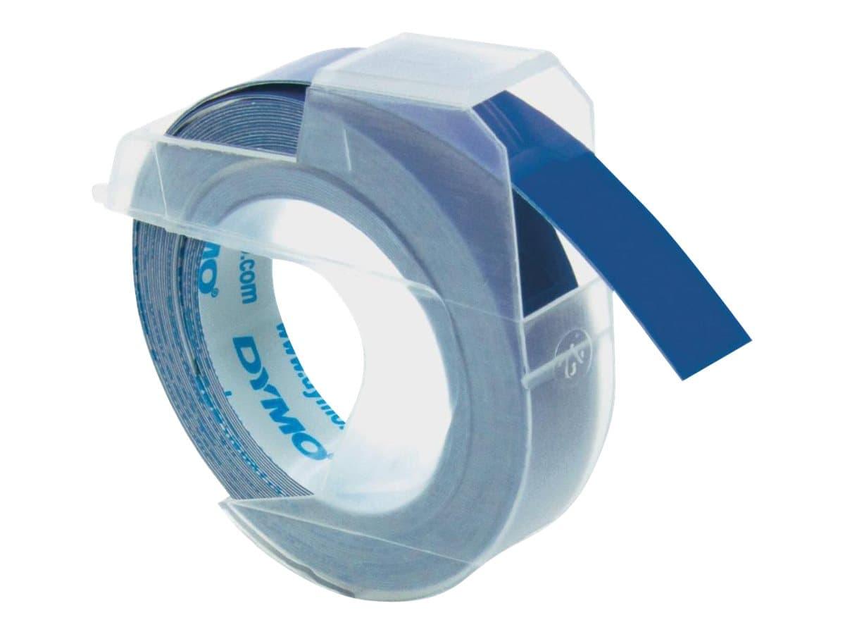 Dymo - Ruban d'étiquettes auto-adhésives 3D - 3 rouleaux (9 mm x 3 m) - fond bleu brillant