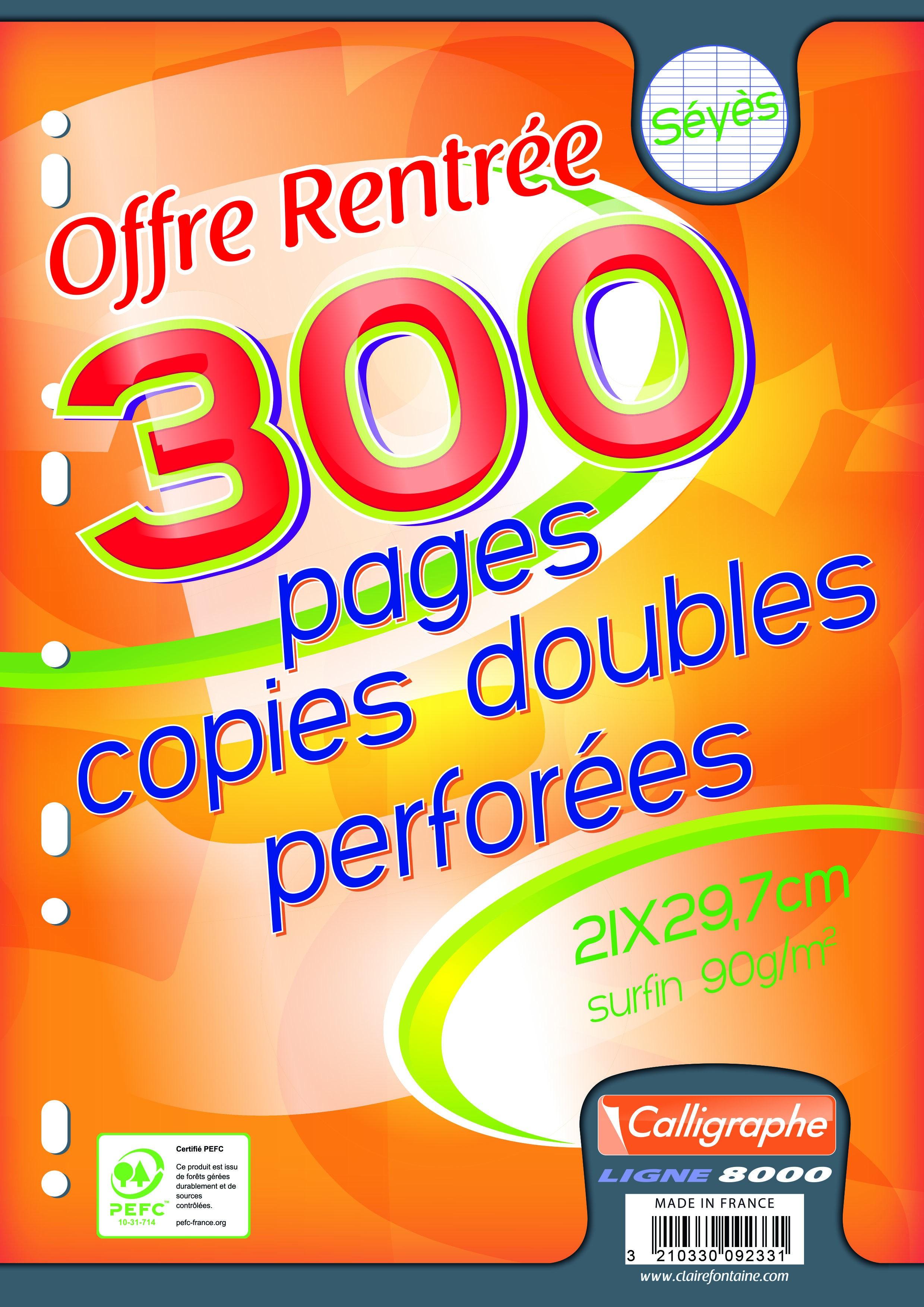 Calligraphe - 300 copies doubles sous film - A4 - grands carreaux (Seyes) - perforées