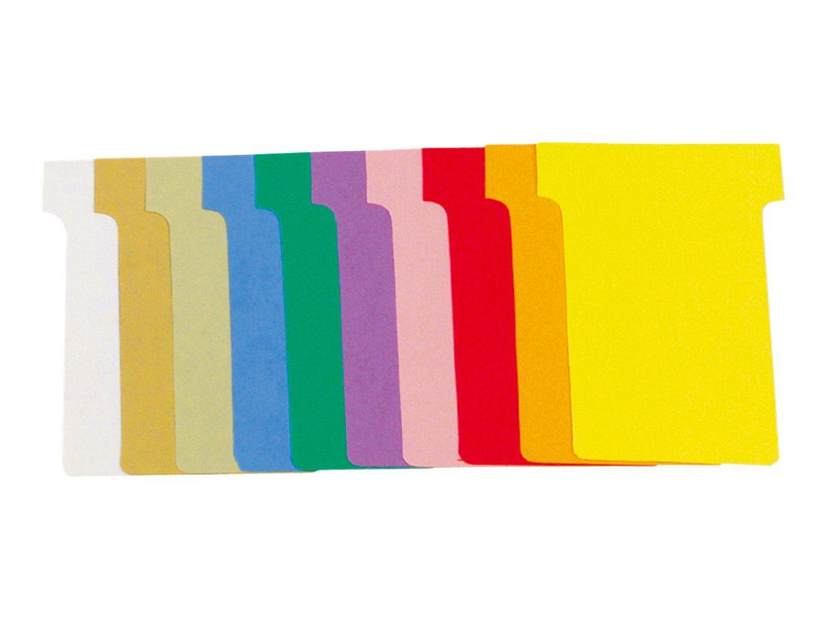 Exacompta - 100 Fiches en T - Taille 2 - coloris assortis - carton de 10 étuis