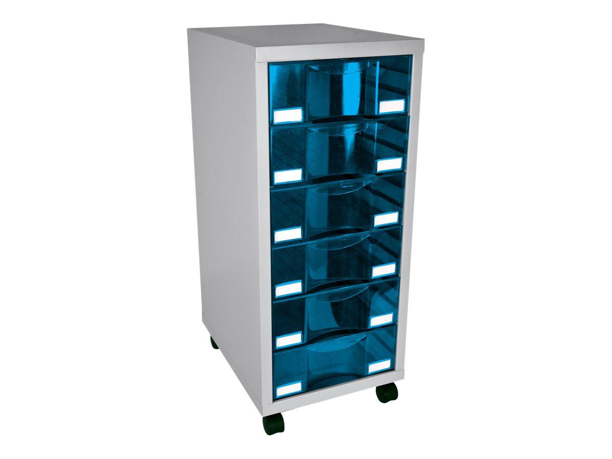 Module de rangement à roulettes 6 tiroirs - anthracite/bleu