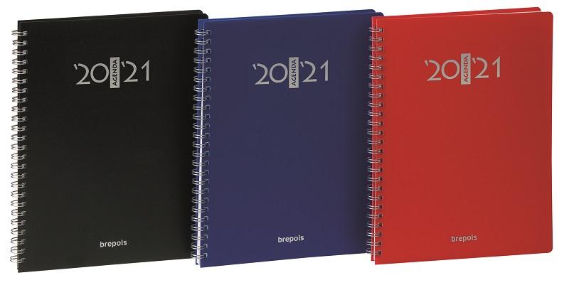 Agenda à spirales Polyprop - 1 semaine sur 2 pages - 17 x 22 cm - 3 coloris disponibles - Brepols