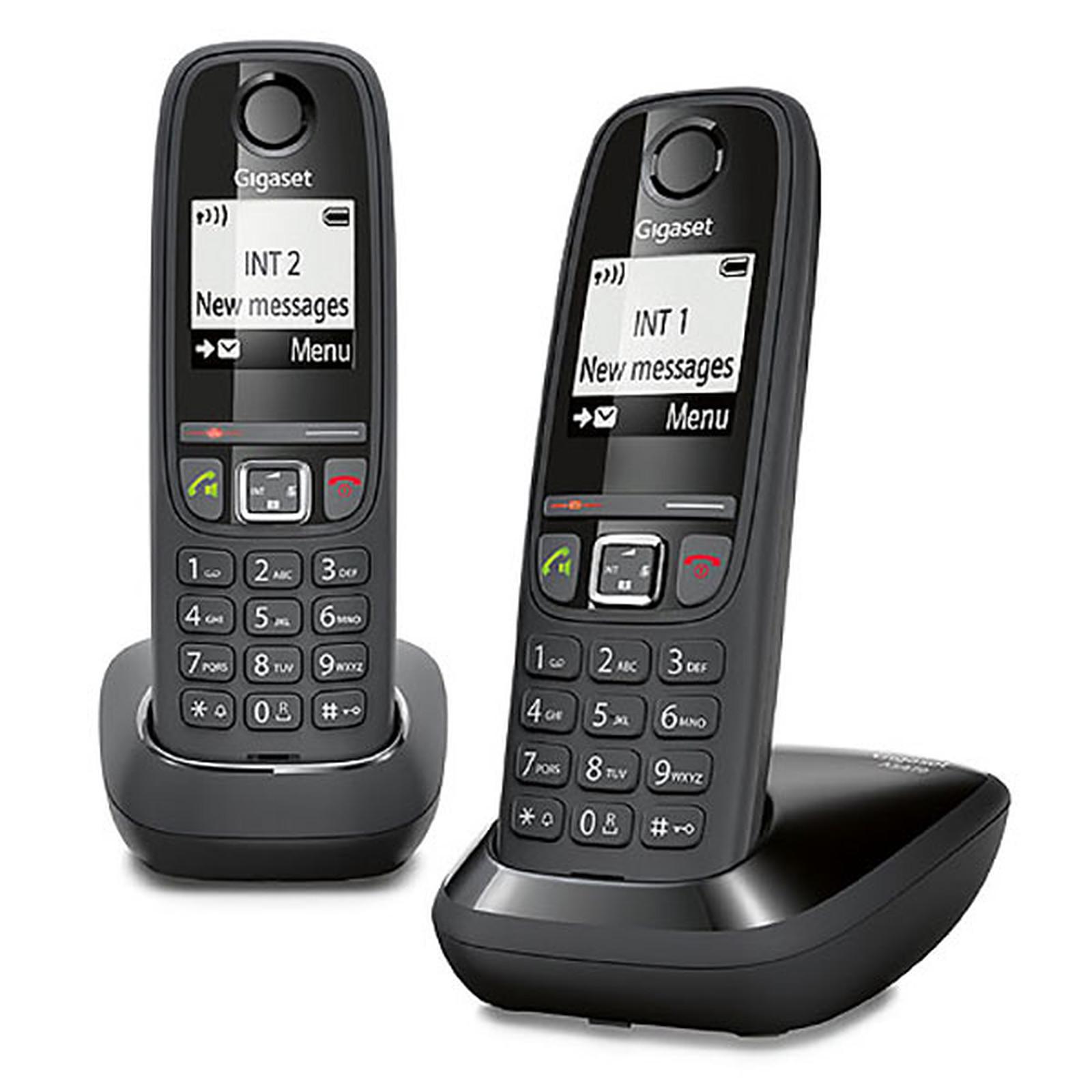 Gigaset AS470 Duo - téléphone sans fil + combiné supplémentaire - noir