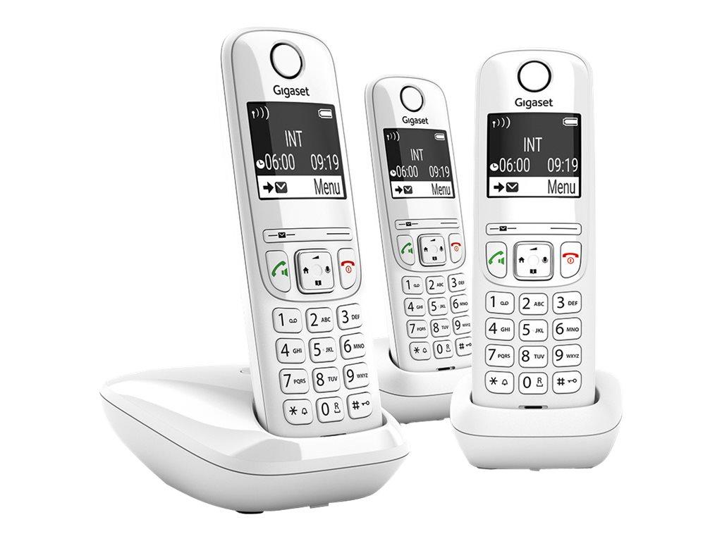 Gigaset AS690 Trio - téléphone sans fil + 2 combinés supplémentaires - blanc