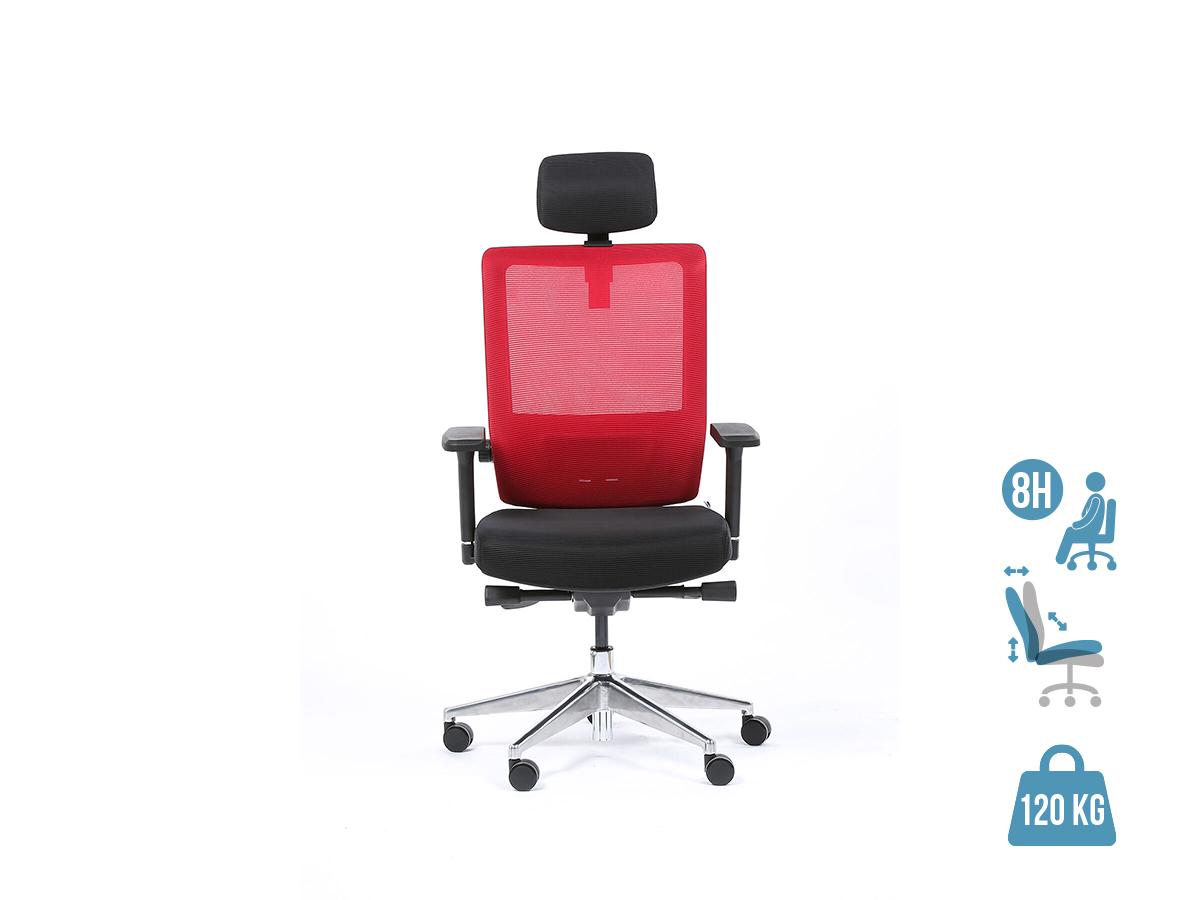Fauteuil de bureau ergonomique SYNEC - accoudoirs réglables - appuie-tête réglable - noir et rouge