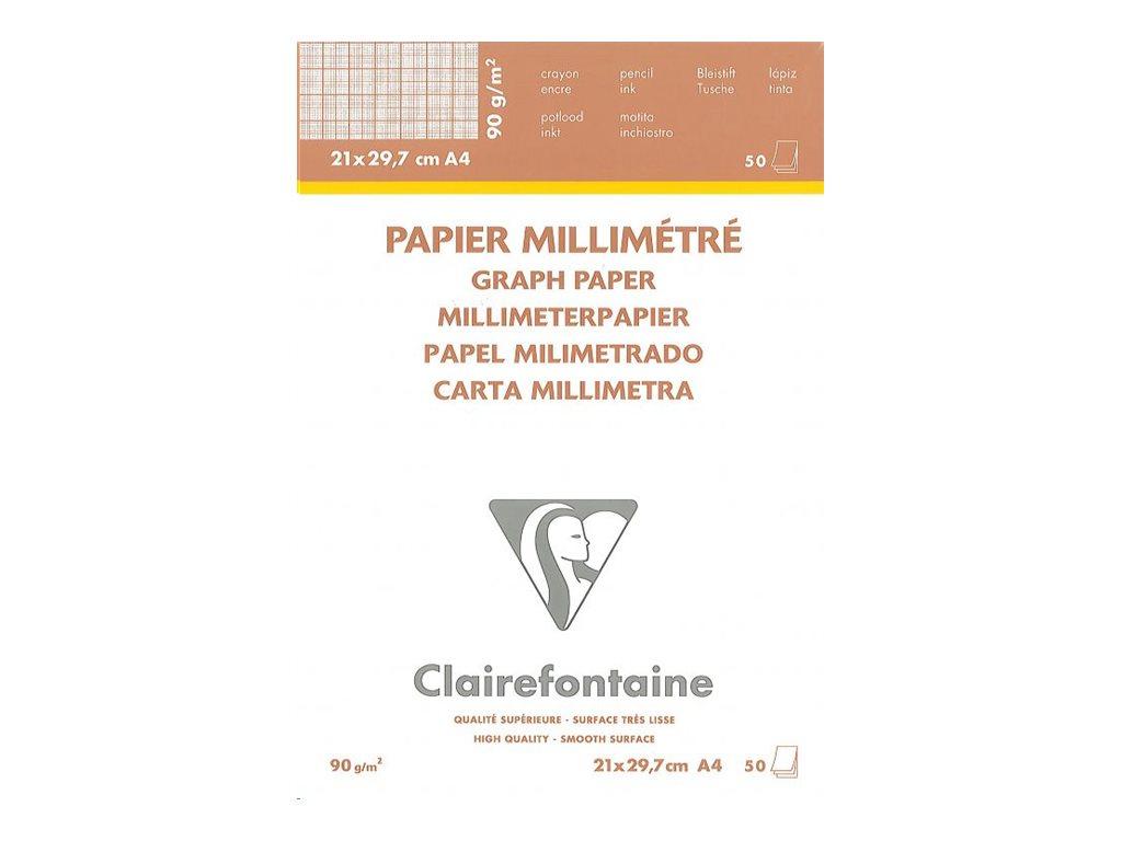 Clairefontaine - Bloc papier à dessin millimétré - 50 feuilles - A4 - 90G