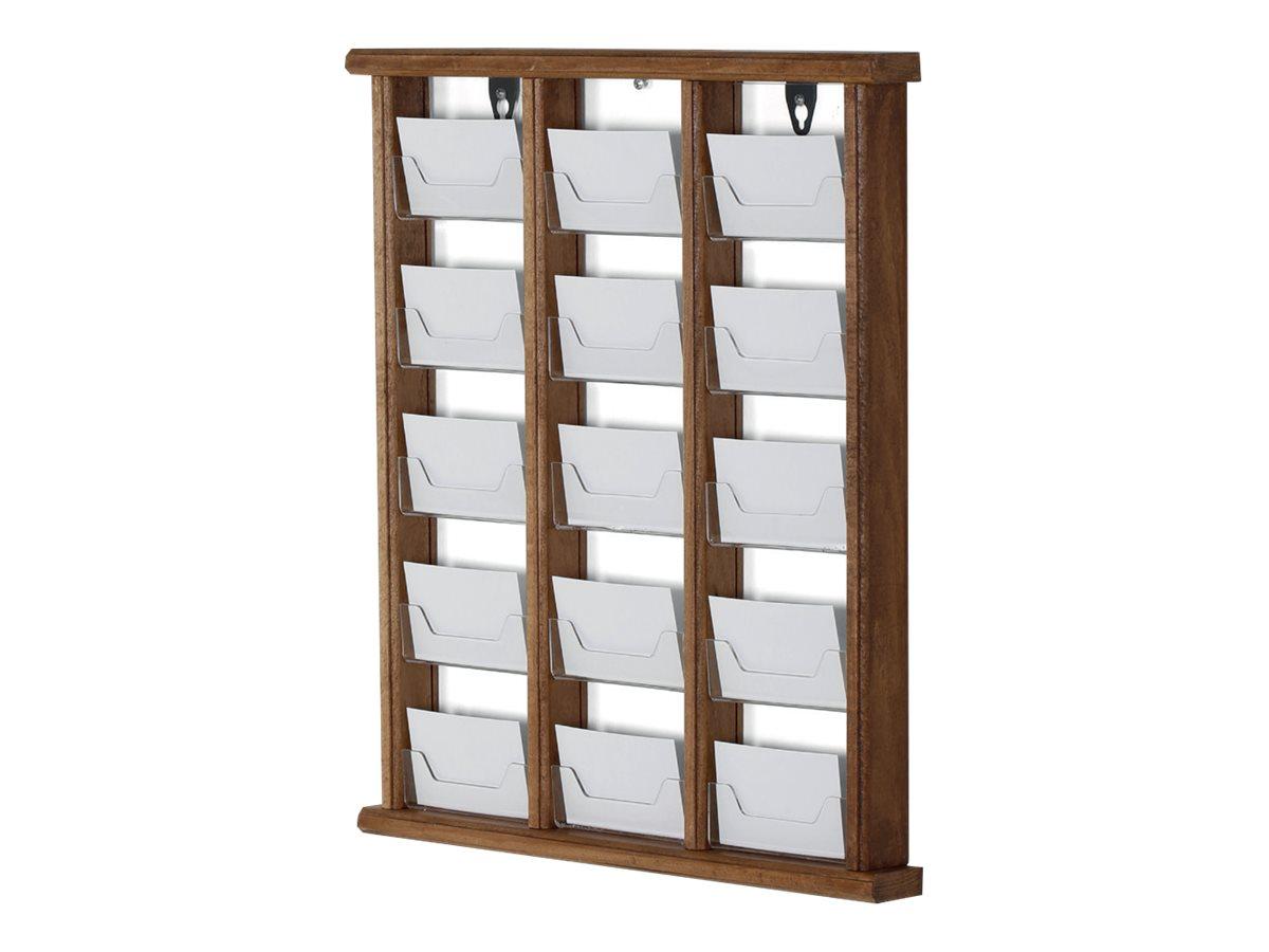 Promocome - Présentoir de cartes de visite mural - 3 x 5 compartiments - finition bois foncé