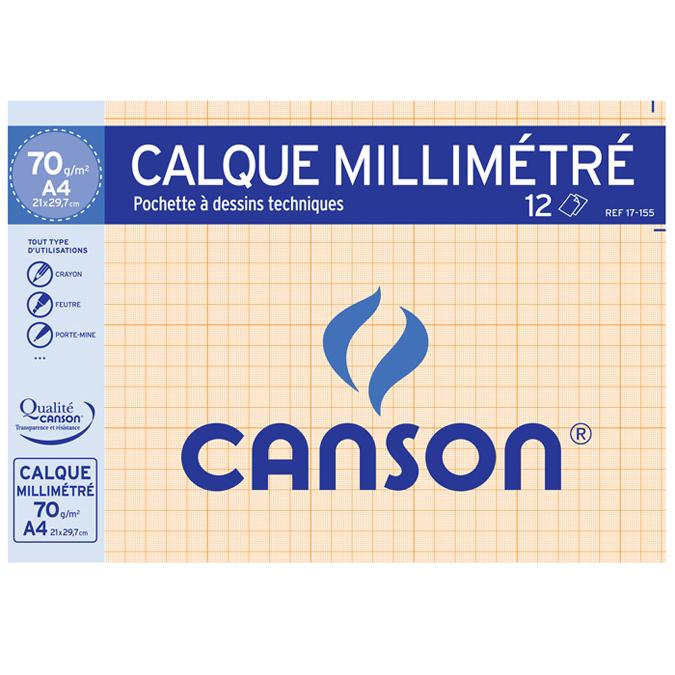 Canson - Pochette papier à dessin calque millimétré - 12 feuilles - A4 - 70/75G