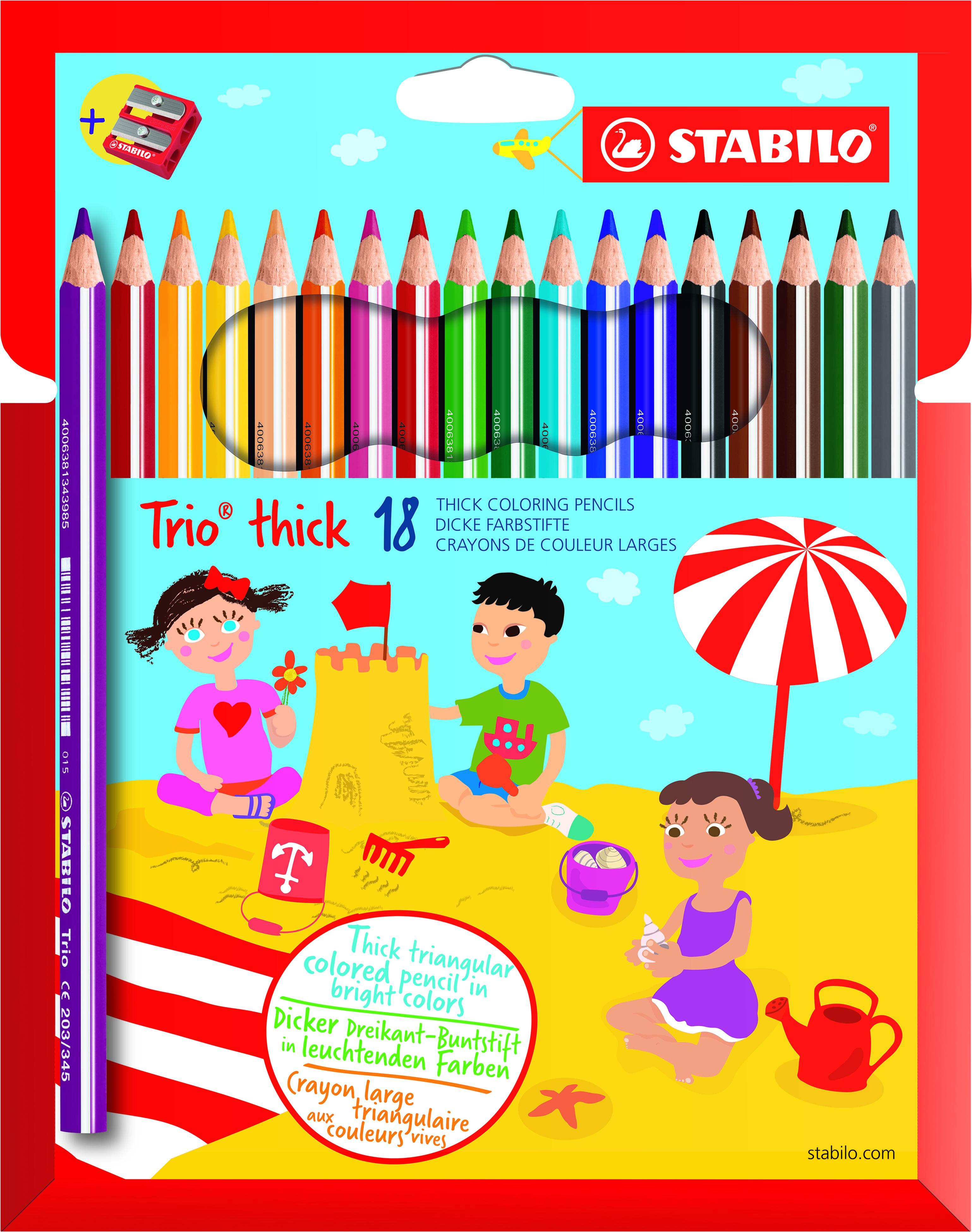 STABILO Trio thick - 18 crayons de couleur + 1 taille crayon