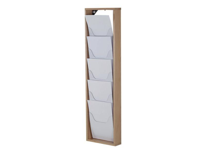 Promocome - Présentoir de journaux mural - 1 x 5 compartiments A4 - bois naturel