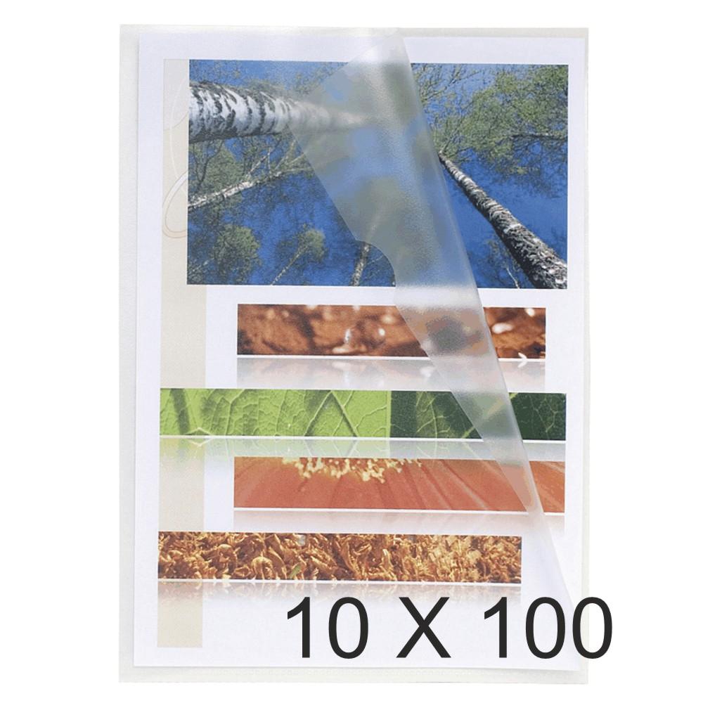 Exacompta - 10 Packs de 100 Pochettes coin grainées - A5 - 12/100 - cristal