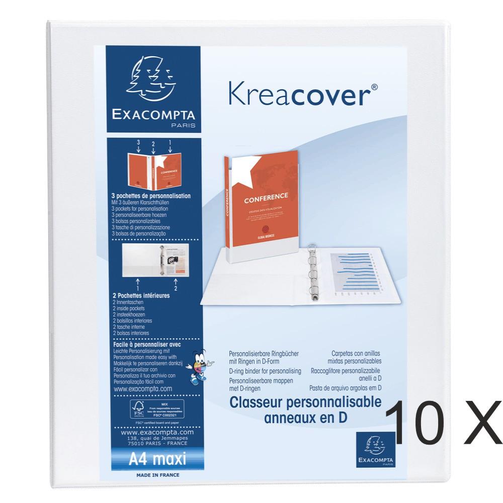 Exacompta Kreacover - 10 Classeurs 2 anneaux personnalisable - Dos 47 mm - A4 Maxi - blanc - 3 poches extérieures