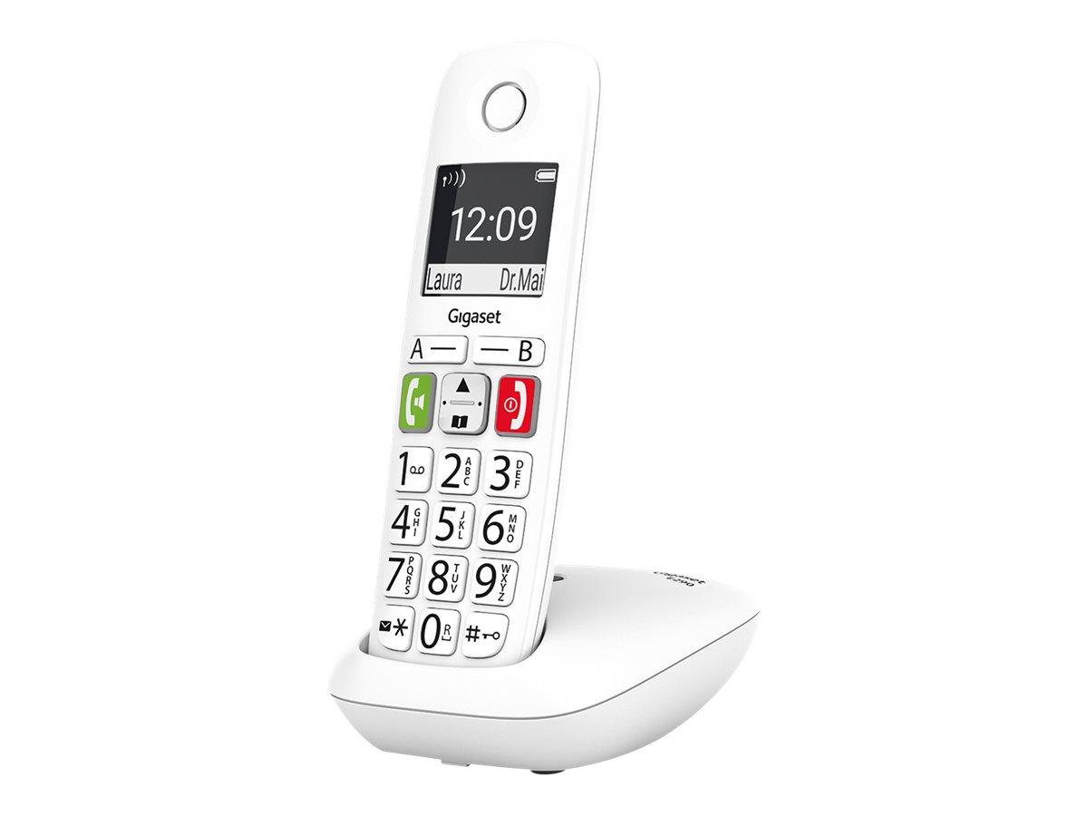 Gigaset E290 - téléphone sans fil à grosse touche - blanc
