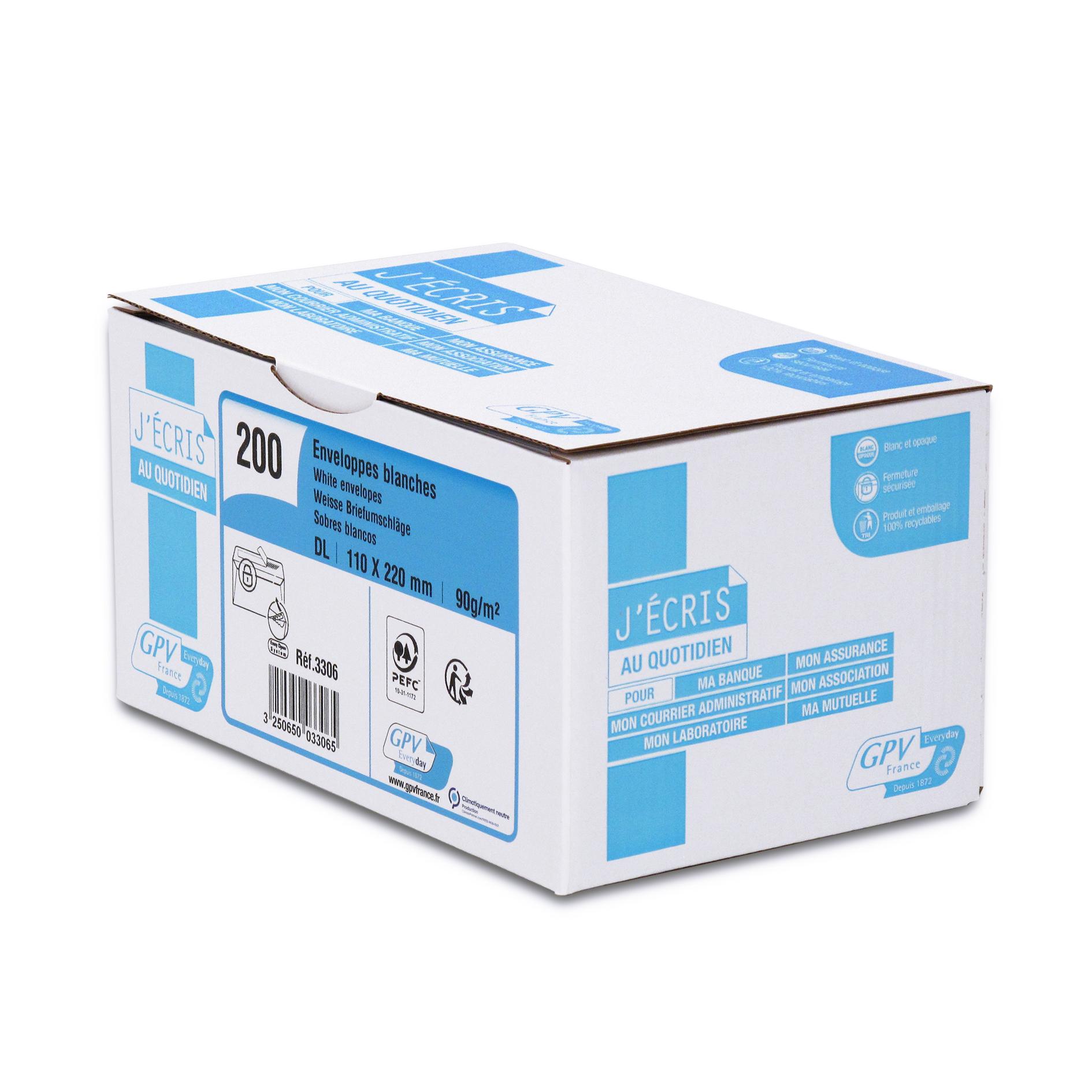 GPV - 200 Pochettes Enveloppes DL 110 x 220 mm - 90 gr - sans fenêtre - blanc - bande adhésive ouverture rapide