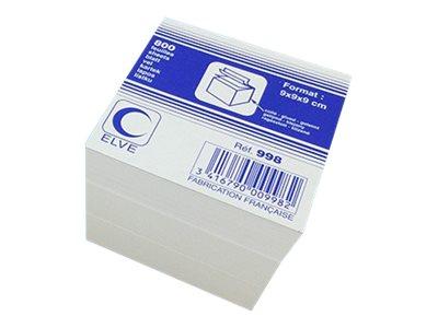 ELVE - Bloc Cube encollé - 90 x 90 mm - blanc