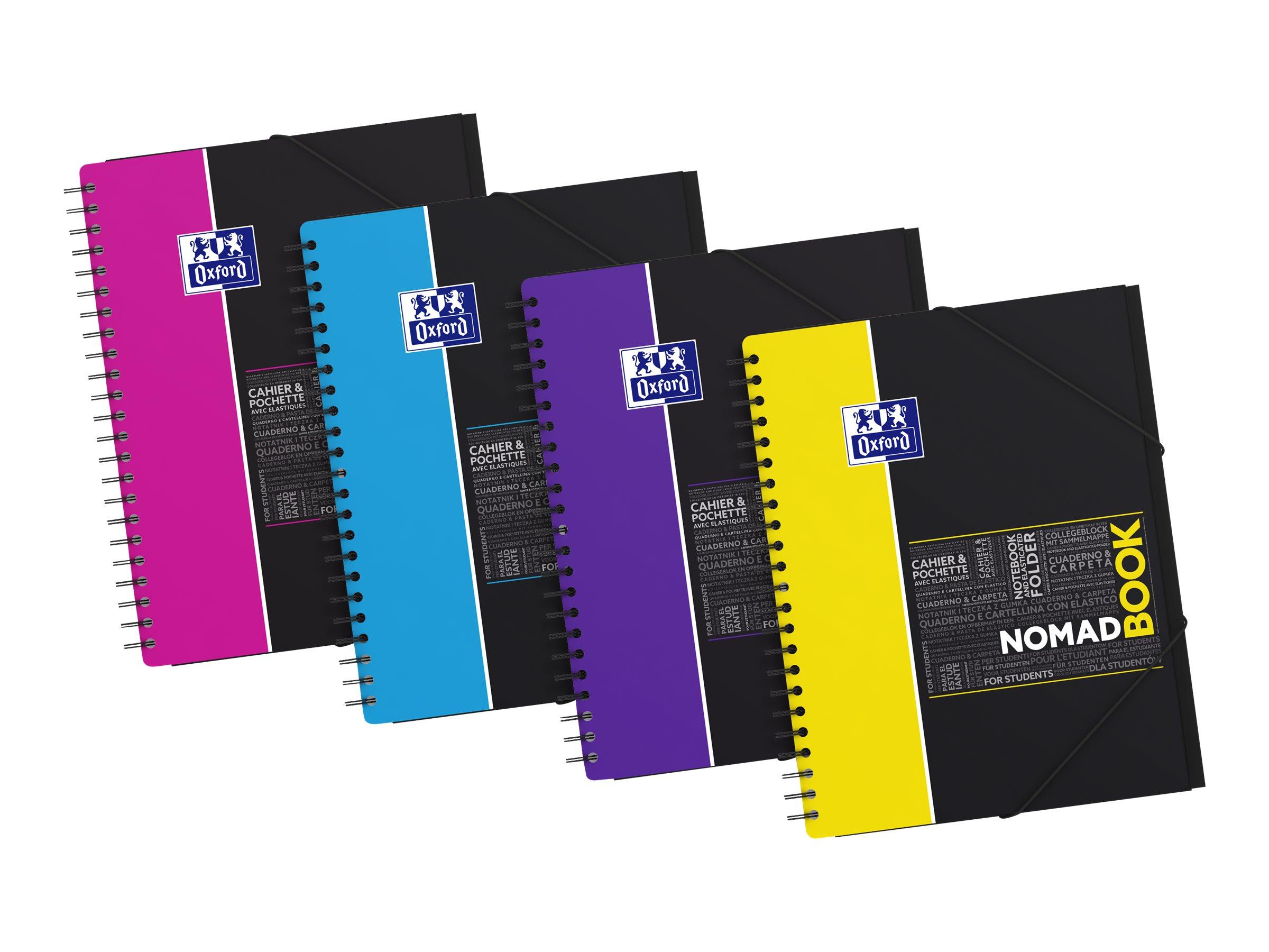 Oxford Etudiants - Cahier Nomadbook A4+ (24 x 29,7 cm) avec pochettes 3 rabats - 160 pages - petits carreaux (5x5 mm) - double spirale - disponible dans différentes couleurs