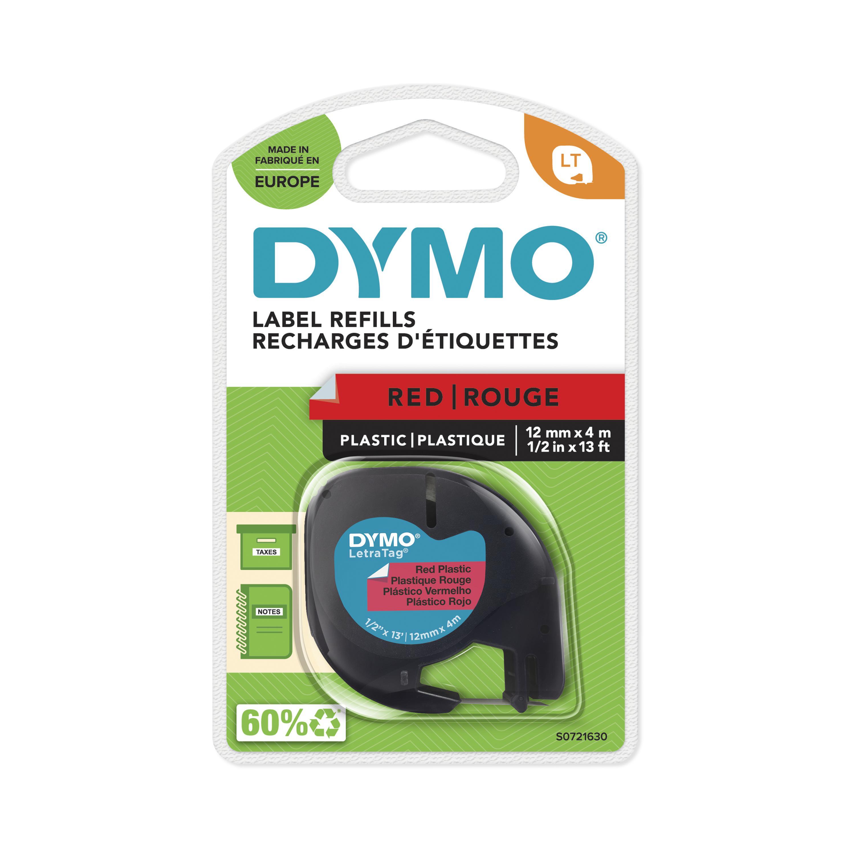 Dymo LetraTAG - Ruban d'étiquettes plastique auto-adhésives - 1 rouleau (12 mm x 4 m) - fond rouge écriture noire