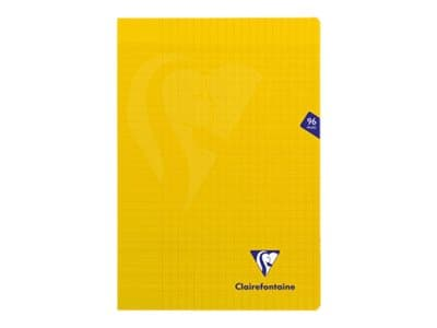 Clairefontaine Mimesys - Cahier polypro A4 (21x29,7 cm) - 96 pages - grands carreaux (Seyes) - jaune