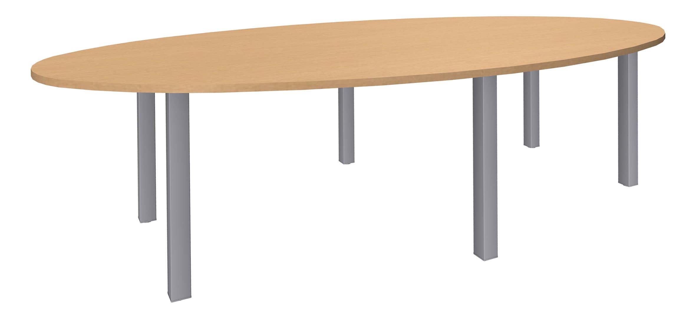 Table de réunion ovale - L280 cm - pieds exprim alu - Plateau imitation hêtre
