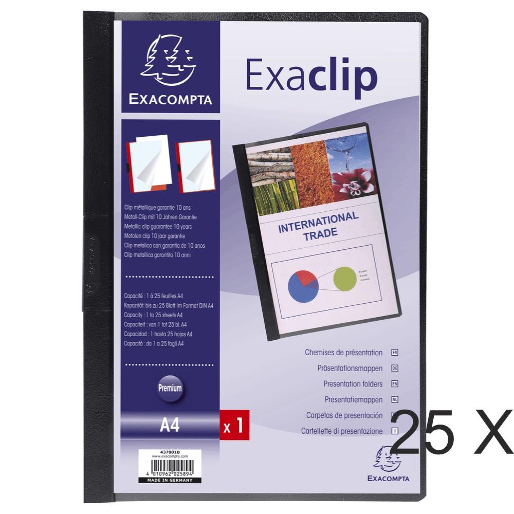 Exacompta Exaclip - 25 Chemises de présentation - A4 - noir